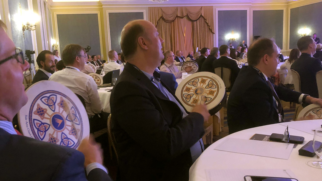 Attendees playing their Bodhrán on EMEA's Conference